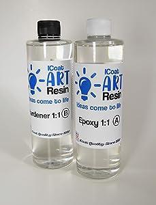 iCoat Art Resin 8oz kit, Crystal Clear, Non-Toxic, Epoxy and Hardener 1:1
