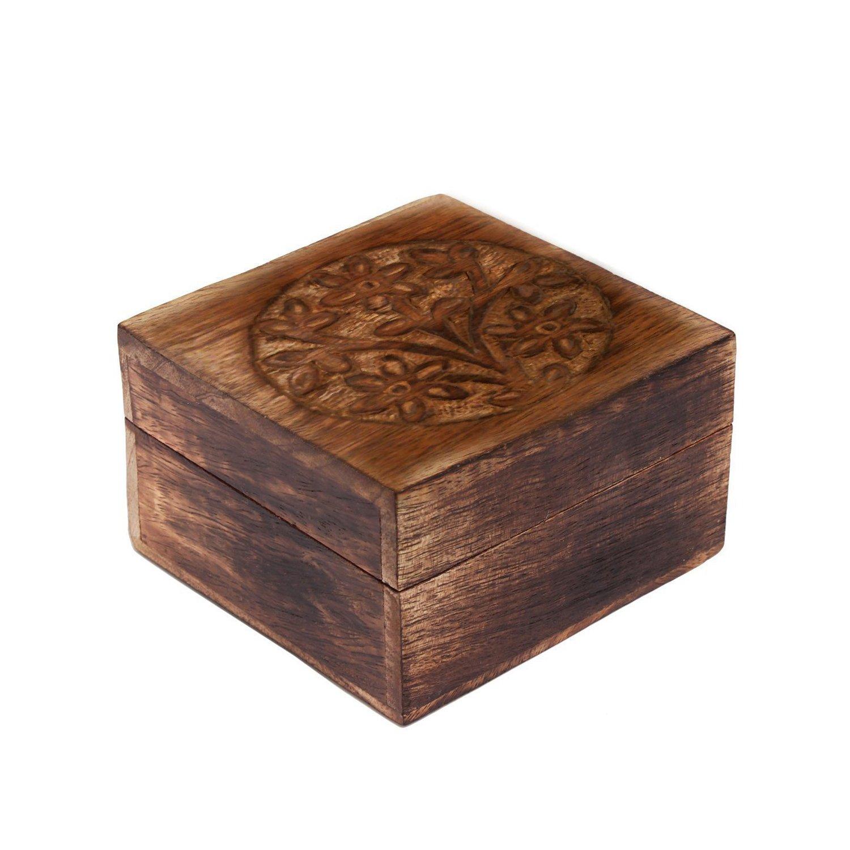 storeindya Wooden Jewelry Box Storage Organizer Multipurpose Box Wooden Keepsake Box/Good Luck Tree Theme/Treasure Chest for Kids Trinket Holder for Women Men Girls Single (Handmade Collection)