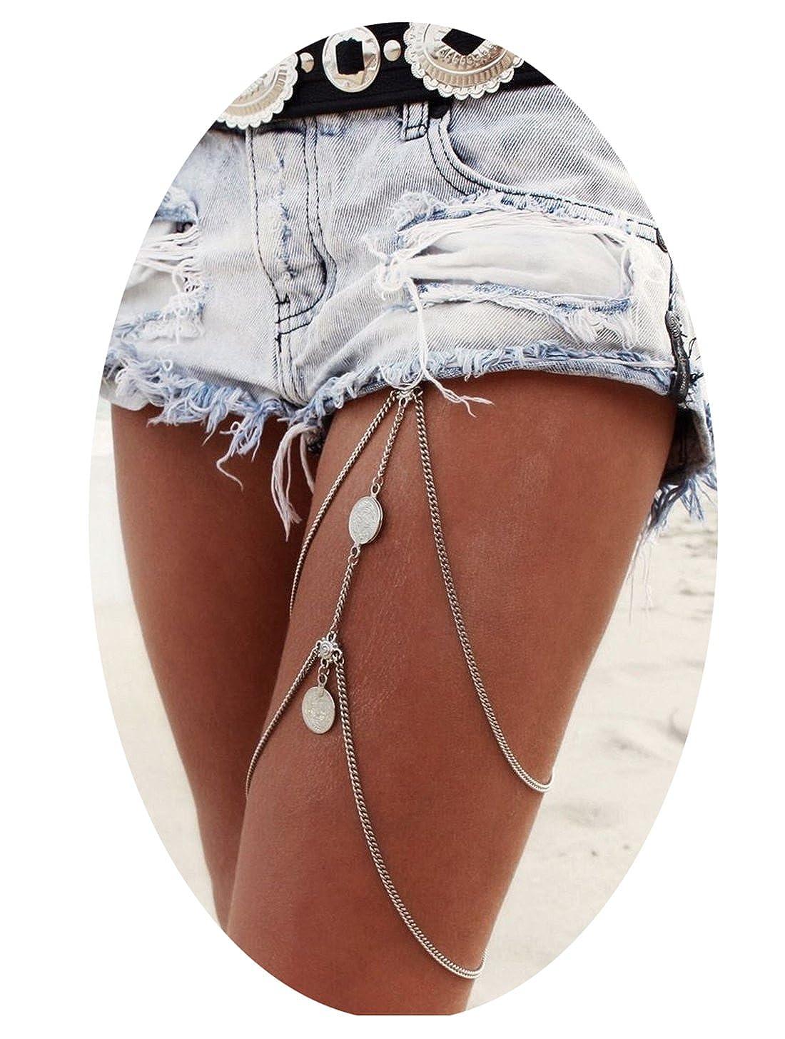 Tupai 1PC Vintage Silver Stretchy Bikini Thigh Leg Tassel Chains Coins Pendant Crossover Body Jewelry Yi wu Tu Pai Electronic Commerce Co.LTD TU20170502601