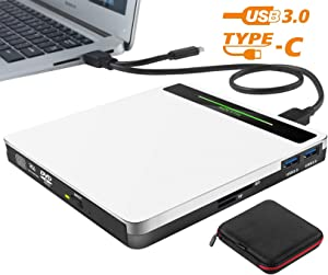 External DVD Drive 5 in 1 USB 3.0/Type-C Portable CD/DVD+/-RW Burner Player CD ROM for Mac Laptop MacBook Pro Air Desktop PC Windows