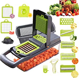 Alrens Vegetable Chopper Mandoline Slicer Cutter Chopper and Grater 8 in 1 Vegetable Slicer Cheese Grater Potato Onion Chopper with Container (Black)