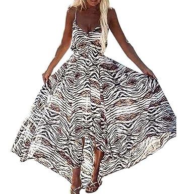 1134841a53ba feiXIANG Damen Partykleid Frau Druckkleider Sommer unregelmäßigen Boho  Ladies Ärmelloses Kleid mit Leopardenmuster Kleid Lange Maxi