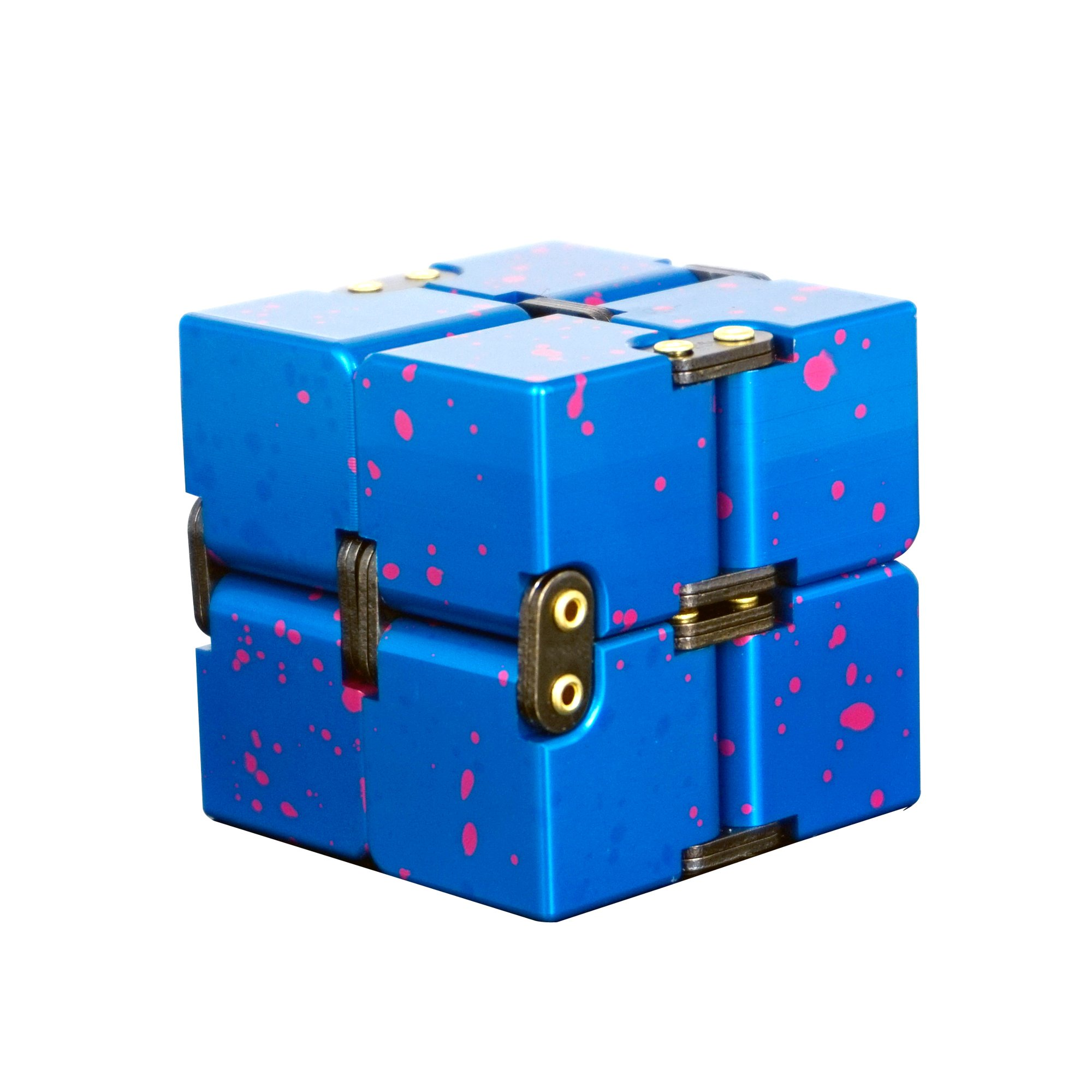 Metal Infinity Cube, Gazeto Durable Aluminum Alloy Decompression Toys, Pressure Reduction Educational Toys Stress Relief Toy Games Square Cube for Adult and Children, Sky Type, Blue