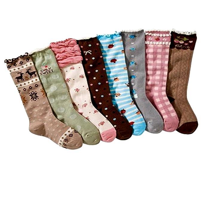 Calcetines hasta la rodilla para niña Ciervo Calcetines con suela de algodón 8 pares de calcetines: Amazon.es: Ropa y accesorios