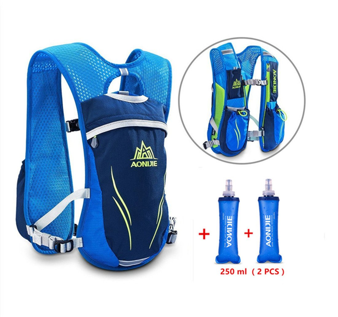 Amazon.com: BESIXER Lightweight Unisex 5.5L Running Race Hydration Vest Hydration Pack Backpack Riding Bag, Blue with 2pcs 250ML Soft Flasks: Sports & ...
