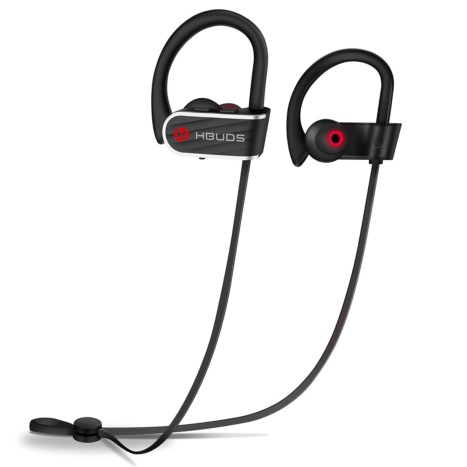 Bluetooth Headphones, Best Wireless Sport Earphones Hbuds H1 w Mic IPX7 Waterproof HD Stereo in Ear Earbuds for Gym Running Working Out 9 Hour Battery Noise Cancelling Black