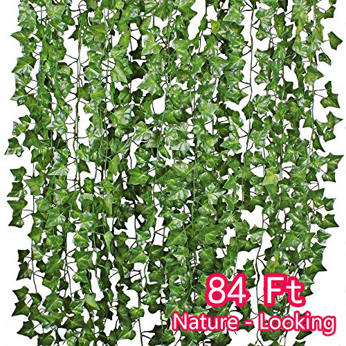 English Ivy Flowers - Artificial Hanging Plants Wisteria Vine Garland Ivy Flower Fake Leaf Silk Leaves Greenery 12 PACK for Wedding Kitchen Wall Garden Foliage Home Outdoor Party Festival Decor Wholesale