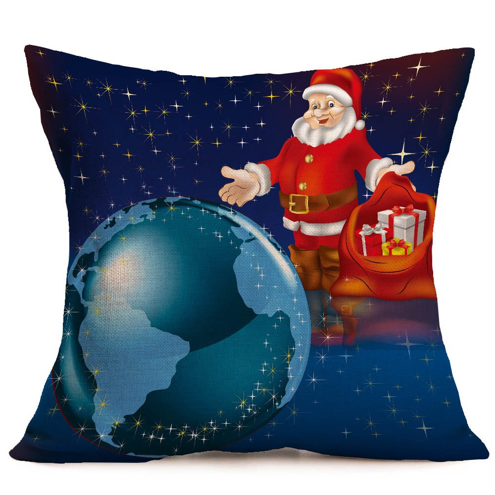 Merry Christmas Pgojuni Linen Pillowcase Decoration Accent Throw Pillow Cover Cushion Cover for Couch/Sofa 1pc 45X45 cm (J)