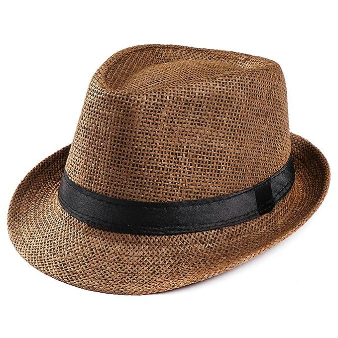 Kinlene Sombrero Unisex Trilby Gangster Playa Sol Sombrero de Paja Banda Sombrero para el Sol: Amazon.es: Ropa y accesorios