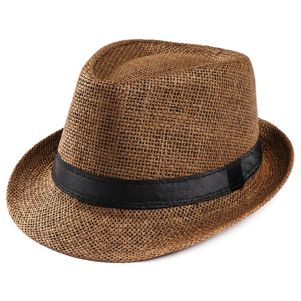 Cleanrance Unisex Hat Gangster Hat for Women and Men Unisex Gangster Cap Beach Sun Straw Hat Band Sunhat Coffee