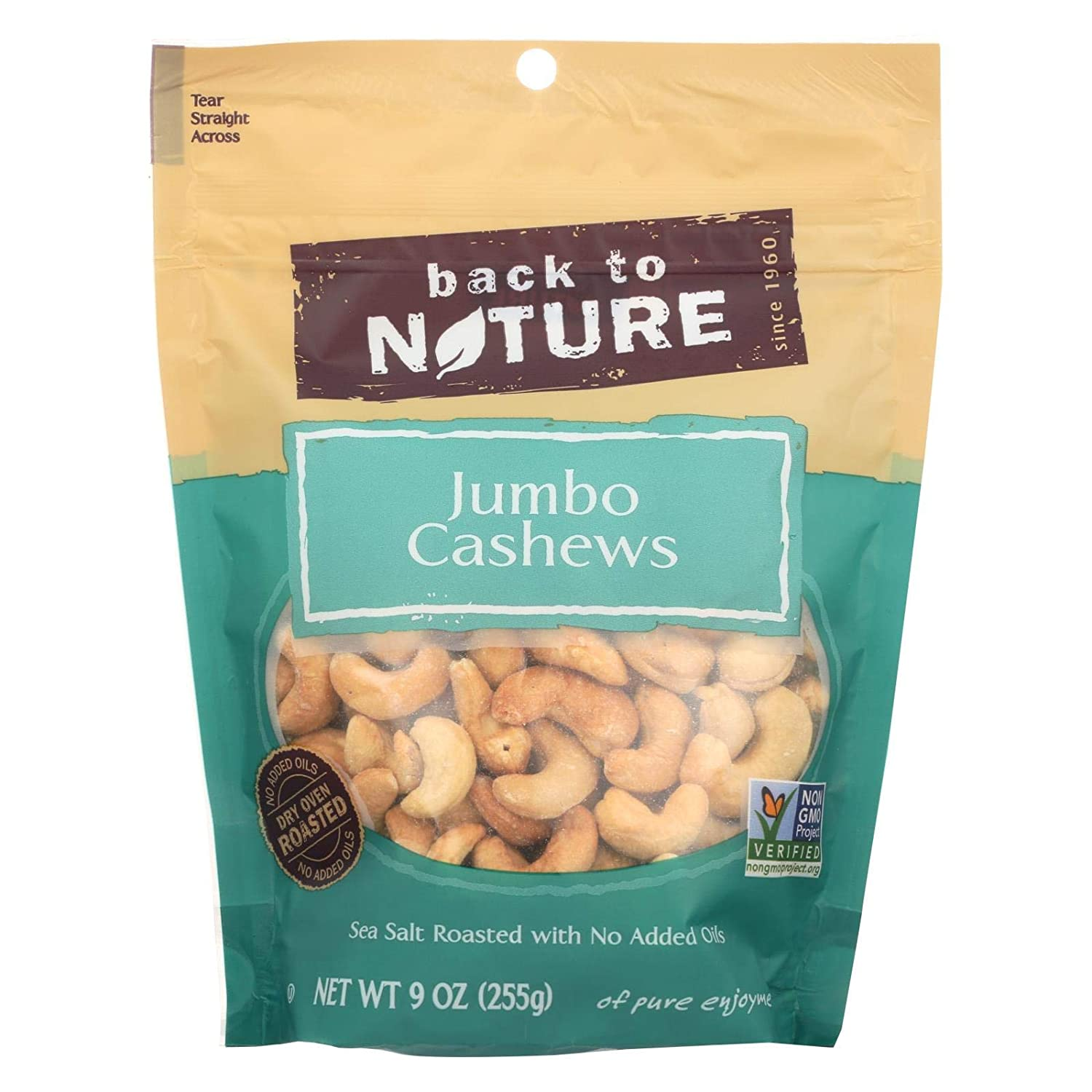 Back to Nature Sea Salt Roasted Jumbo Cashews Nuts, 9 Ounce -- 9 per case.