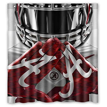 Image Unavailable Not Available For Color Custom NCAA Alabama Crimson Tide Design Waterproof Polyester Fabric Bathroom Shower Curtain