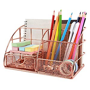 Desktop Organizer Decorative for Women, Cute Desk Organizer Caddy Rose Gold Home Office Supplies Holder, Mesh Desk Accessories with Drawer for Office, Home and Dorm
