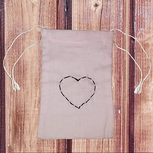 "set of 16 Heart Embroidery Pink Cotton 2 sided Drawstring Pouch Favor bag 4"" X 6"""