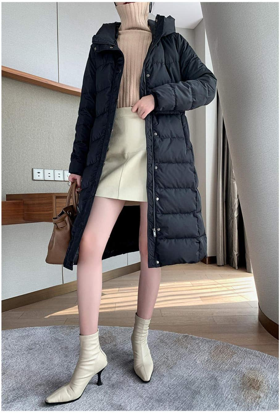 Fantasysmoke Donna Elegante Giacca Invernale Corta da Donna Piumino Giacca con Cappuccio Calda Cappotti Nero - M