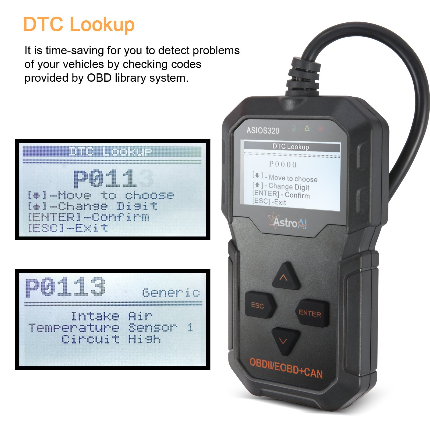 Black AstroAI OBD2 OS320 OBD II Auto Check Engine Code Reader Small Car Diagnostic Tool Automotive Vehicle Scanner