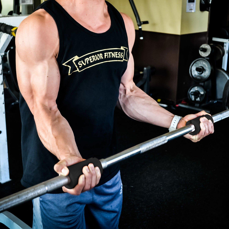 + Premium - Ultimate Thick Grip - Puños de barra y mancuernas de grosor - aumento bíceps, antebrazo, tríceps, y en el pecho entrenamientos, ...