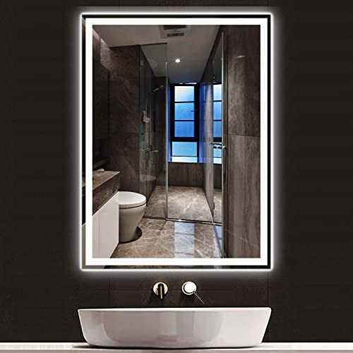 PexFix LED Wall Mounted Mirror Anti-Fog Frameless Explosion-Proof Lighted Backlit Rectangle Makeup Bathroom Vanity Mirror Horizontal or Vertical 47 x35