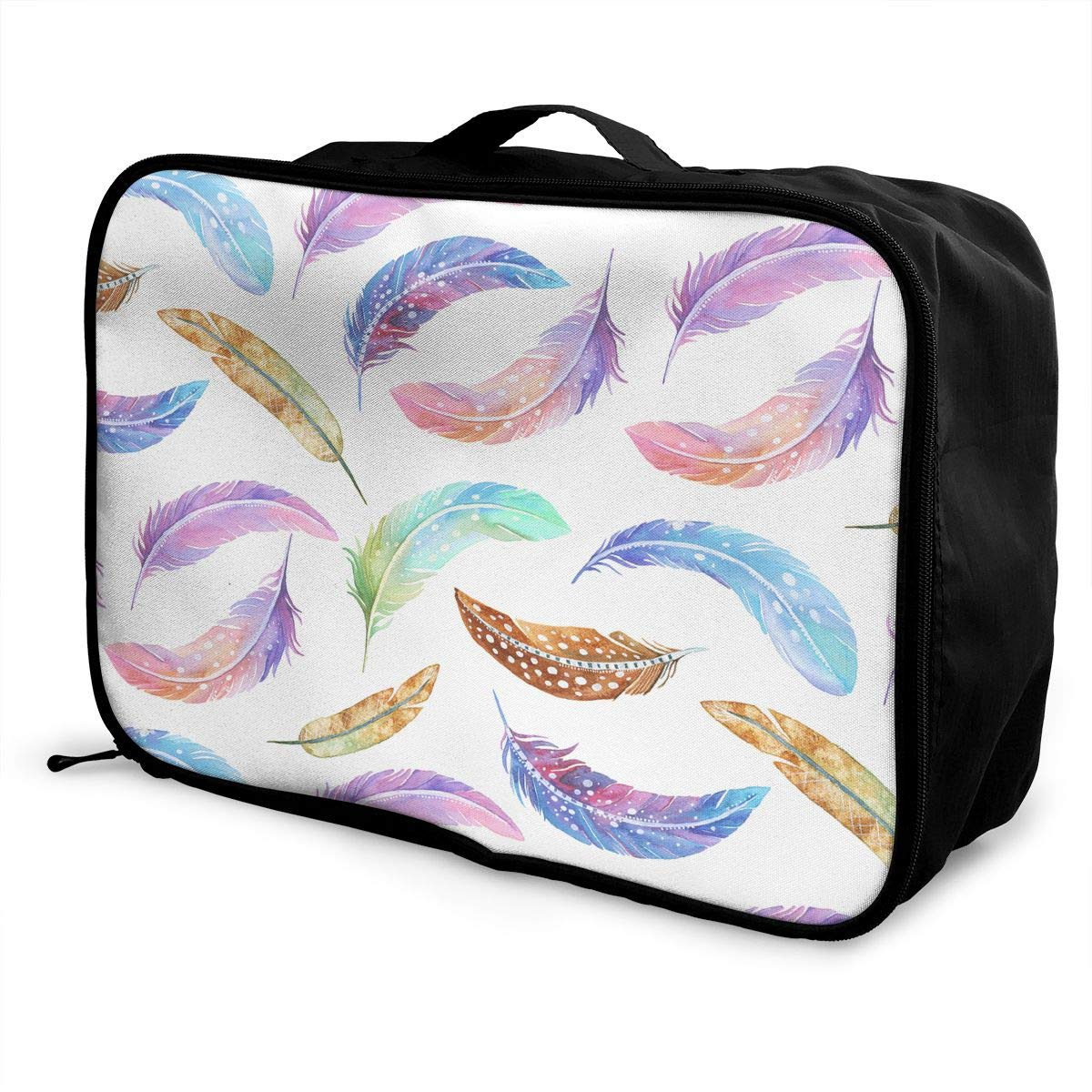 Travel Luggage Duffle Bag Lightweight Portable Handbag Colorful Feathers Watercolor Large Capacity Waterproof Foldable Storage Tote