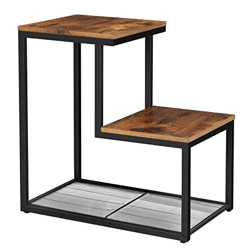 VASAGLE INDESTIC Side Table, Small End Table with 2 Surfaces Arranged in Steps and Mesh Shelf, Nightstand, Living Room, Metal, Industrial Design, Rustic Brown ULET60BX