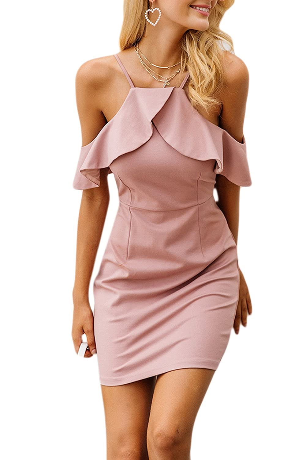 Yacun Womens Bodycon Cocktail Homecoming Dress Off Shoulder Halter CAY52507