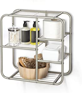 Home Zone Living Floating Wall Mount Bathroom Storage Shelf | 5-Tier Square Design to Store Towels, Toilet Paper, and other Bath Essentials