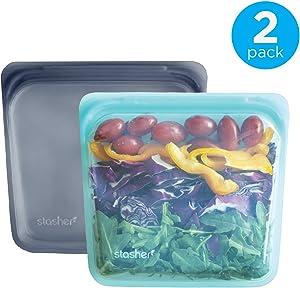Stasher Reusable Silicone Food Bag, Sandwich Bag, Sous vide Bag, Storage Bag, Set of 2, Aqua and Grey