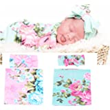 Newborn Baby Sleep Receiving Blanket and Bow Headband Set Baby Swaddle Blanket Galabloomer (Green & Pink Pack Two)
