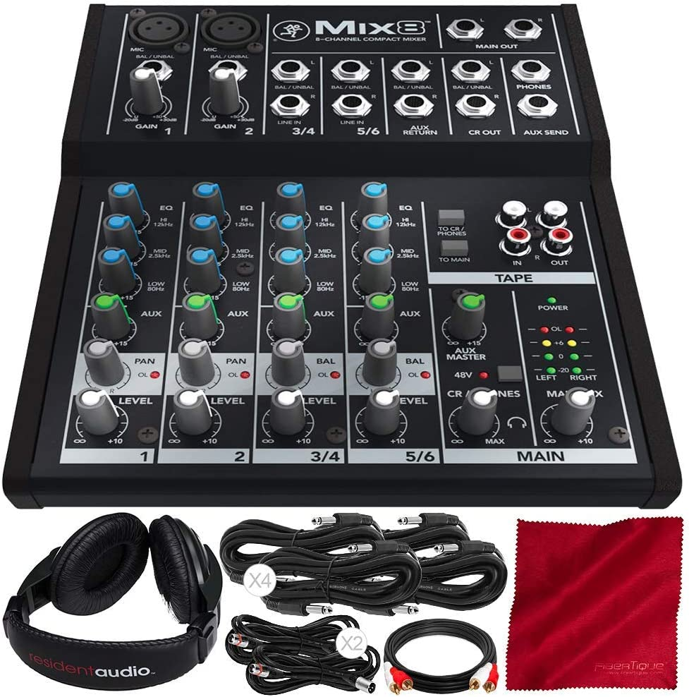 Mackie Mix Series Mix8 8-Channel Compact Mixer and Deluxe Bundle with Closed-Back Headphones + Cables + Fibertique Cleaning Cloth