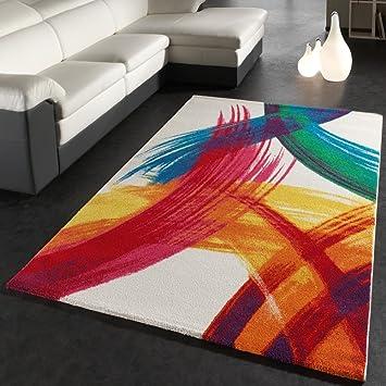 Teppich modern  Teppich Modern Bunt Teppich Splash Brush Leinwand Optik Creme Grün ...