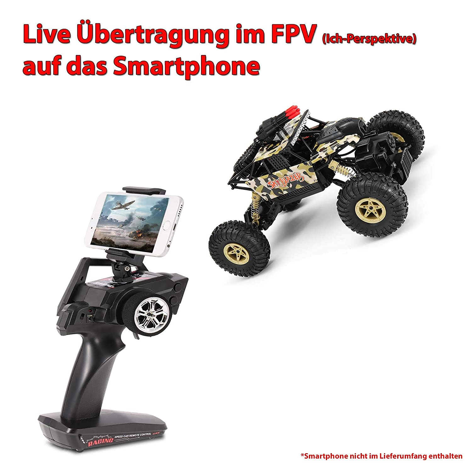 Complete Set HSP Himoto 1:18 2.4GHz RC Remote Controlled Off Road Crawler Built-in FPV WiFi Camera with Live Transmission to Smartphone Shooting Function Climbing Vehicle Terrain Vehicle