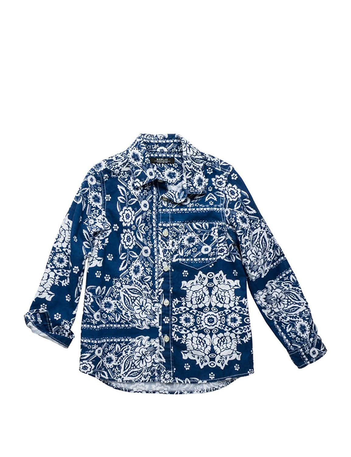 37a3f1519fee Amazon.com: Replay Kids Blue Shirt with Bandana Print Shirt with Bandana  Print: Clothing