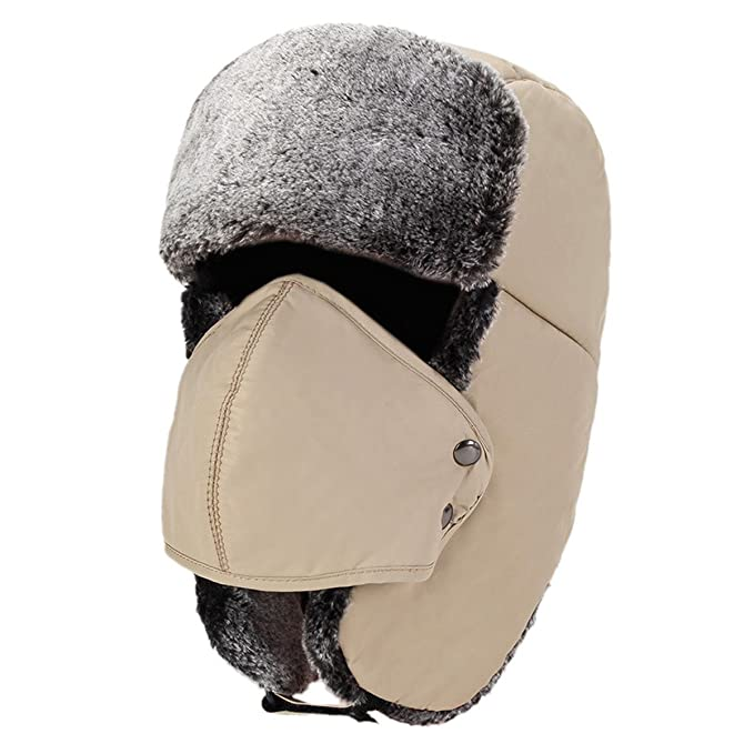 King Star Winter Faux Fur Outdoor Trapper Cap Ushanka Russian Hats with  Windproof Facemask Army Green at Amazon Men s Clothing store  f3279701ec7