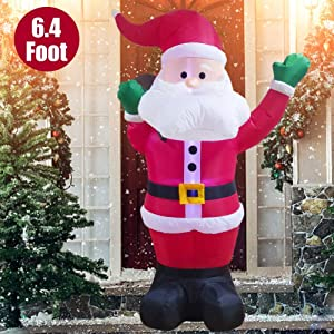 Twinkle Star 6.4 Feet Christmas Inflatables Lighted Santa Claus Blow Up Indoor Outdoor Xmas Decor Lawn Yard Garden Decoration