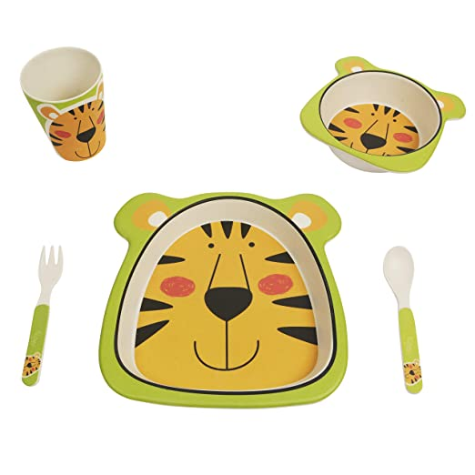 Cups, Dishes & Utensils Brilliant Bamboo Eco Baby Bowl Spoon Fork Set Tiger