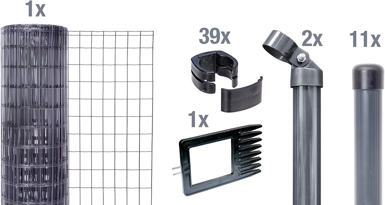 810 mm gr/ün GAH-Alberts 633363 Fix-Clip Pro-Zaunset 10 m