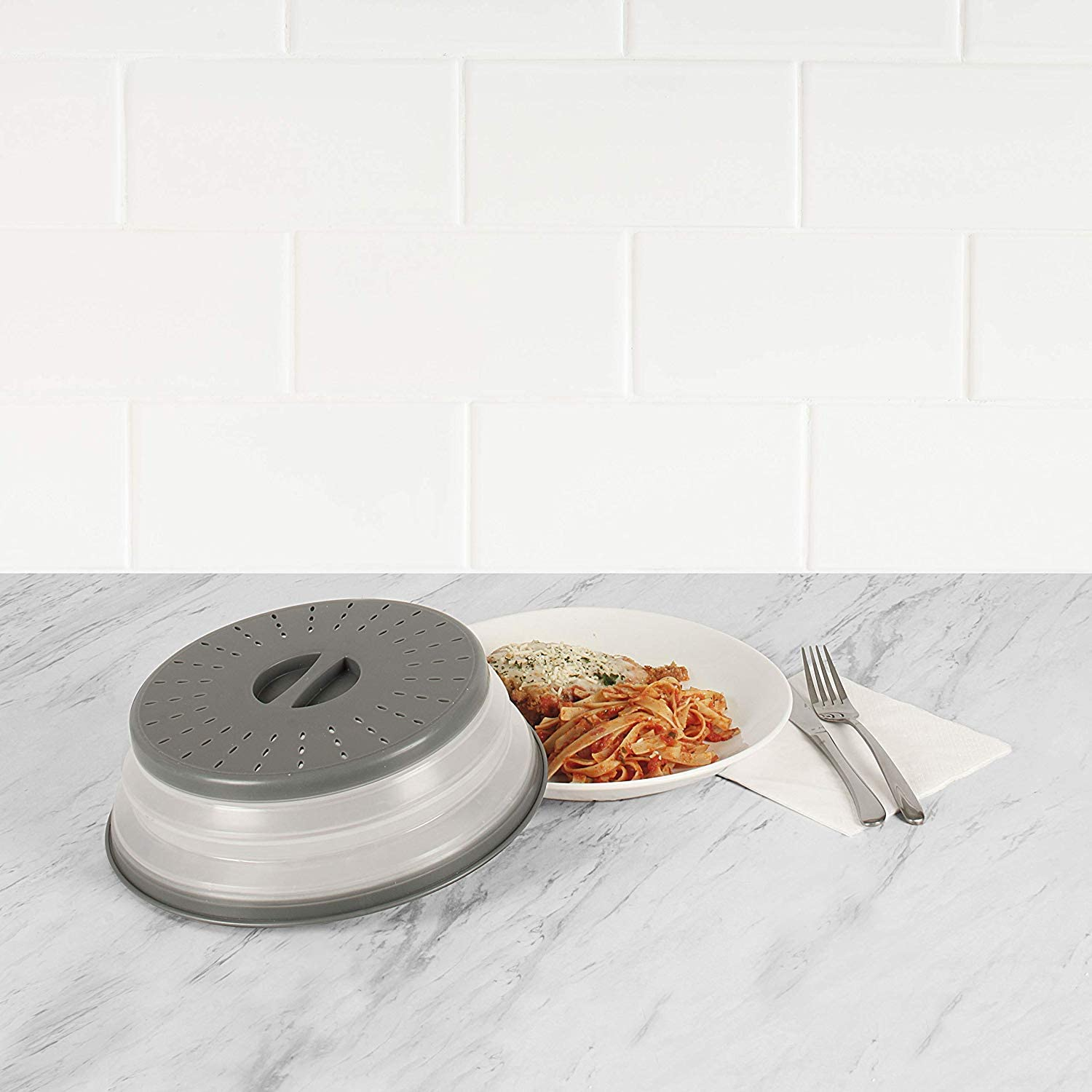 """Tovolo 81-31531 Vented Collapsible Microwave Splatter Proof Food Plate Cover With Easy Grip Handle Dishwasher-Safe, BPA-Free Silicone & Plastic, 10.5"""" Round, Charcoal Gray"""