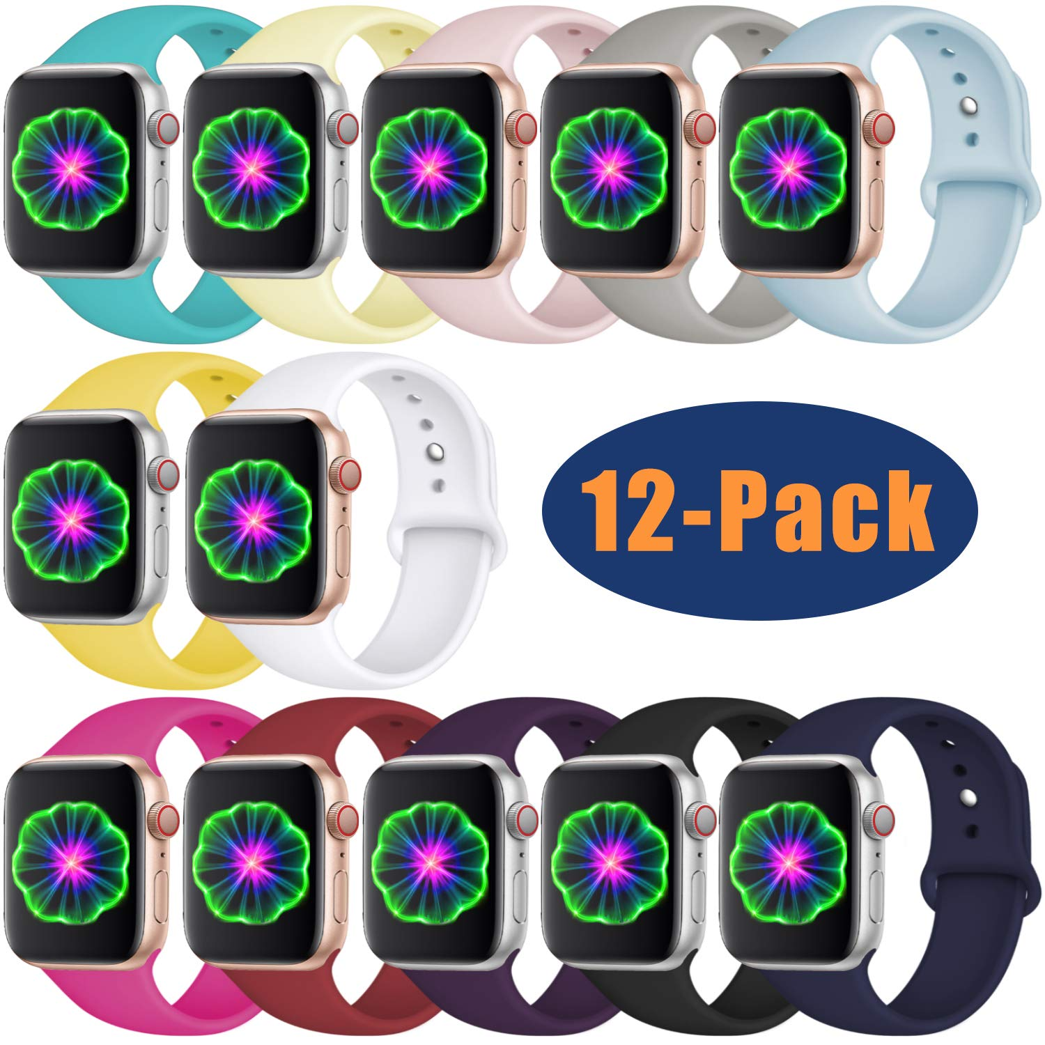 Laffav Compatible with Apple Watch Band 38mm 40mm, Small/Medium, for Women Men, Silicone Sport Replacement Band Compatible with iWatch Series 3, Series 4, Series 2, Series 1, 12-Pack
