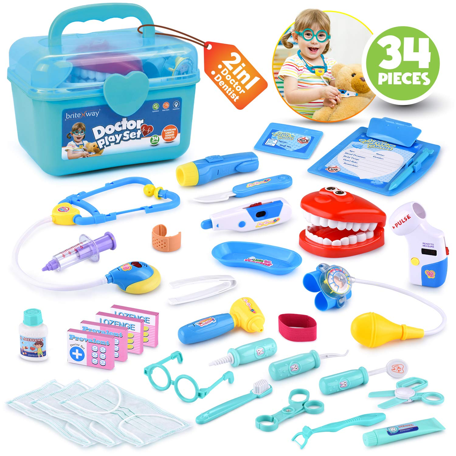 BRITENWAY Educational Doctor Medical Pretend Play Toy Set in Storage Box 34 Pcs - Battery Operated Tools with Lights & Sounds - Promote Learning, Hand to Eye Coordination, Fine Motor Skills by BRITENWAY