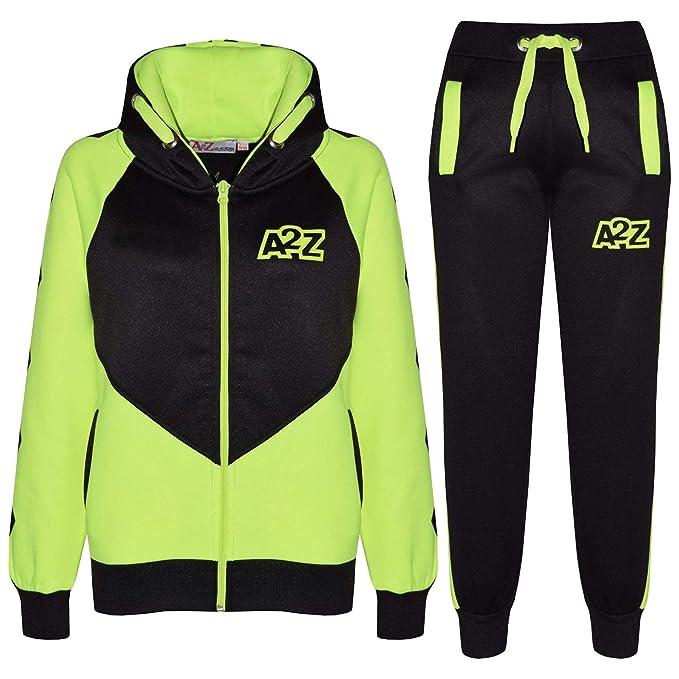 0d160554104769 A2Z 4 Kids Bambini Unisex Tuta Sportiva Neon Verde Progettista Contrasto -  T.S Cross Stripes Neon