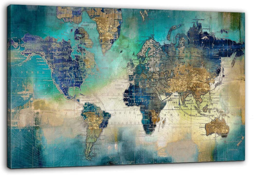 "Large World Map Canvas Prints Wall Art for Living Room Office ""36x48"" Green World Map Picture Artwork Decor for Home Decoration"