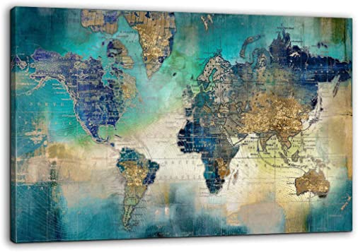 Large World Map Canvas Prints Wall Art