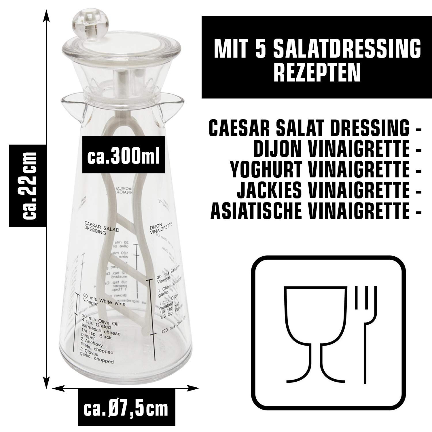 10451 Salad Dressing Mixer with Recipes in the carafe Dressing Shaker Salad Dressing Mixer
