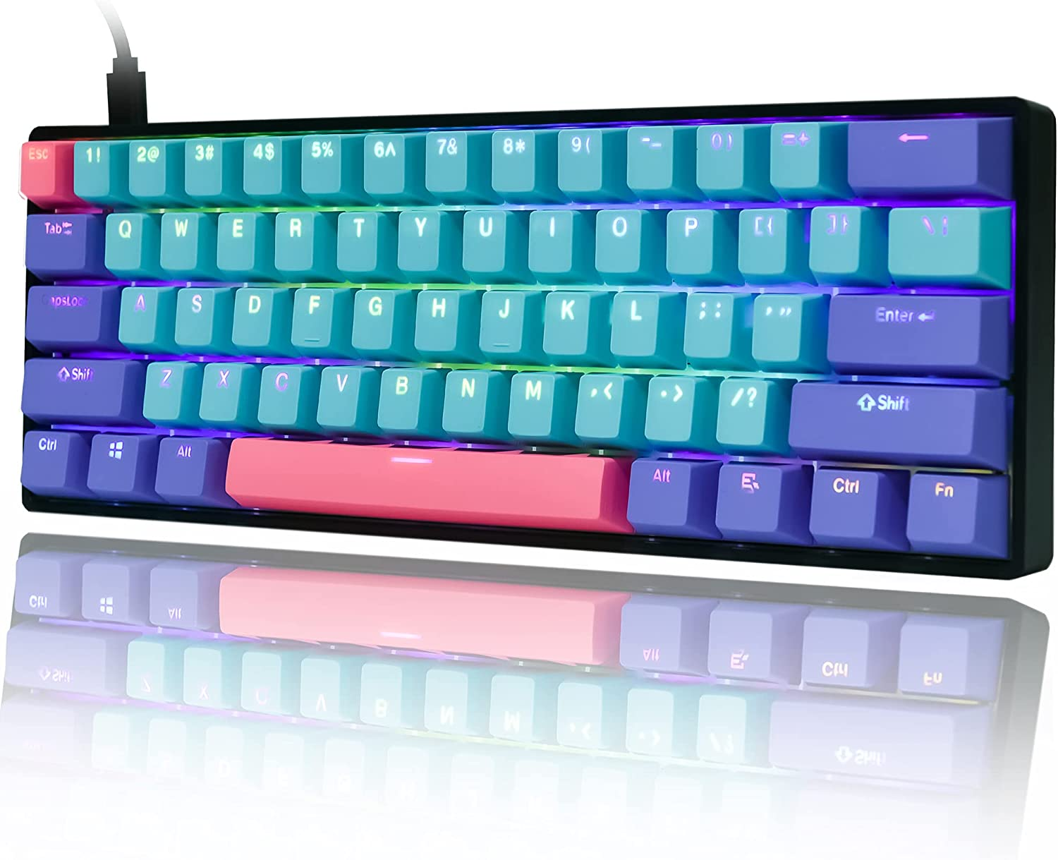 Gk61 SK61 60% Mechanical Keyboard, Custom Hot Swappable 60 Percent PBT keycaps Gaming Keyboard with RGB Backlit NKRO Type-C Cable for Win/PC/Mac, Water-Resistant (Gateron Optical Yellow, Joker)