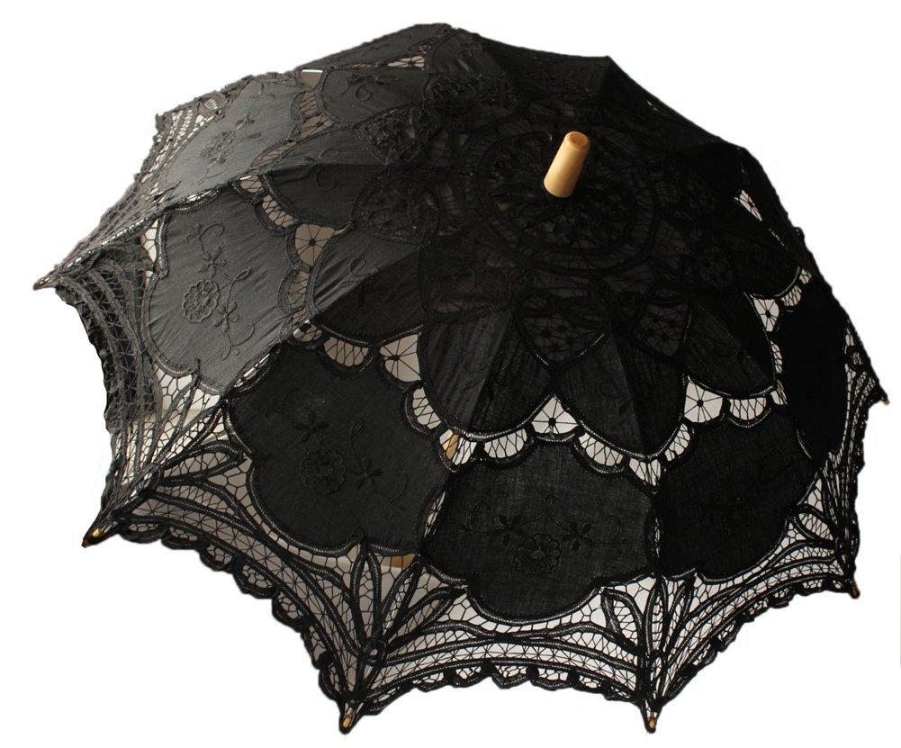 Saitec® 30'' New Arrival Black Old Fasion Embroidered Lace Parasol Sun Umbrella Wedding Bridal Party Decoration