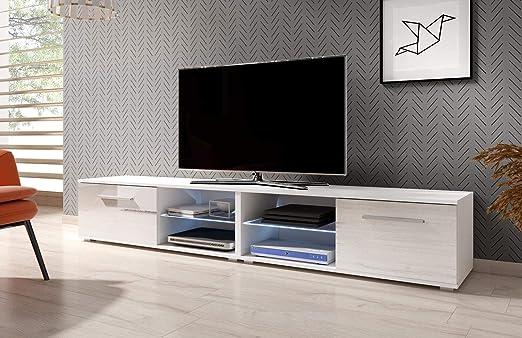 VIVALDI Mueble para TV - MOON 2 DOUBLE - 200 cm - Blanco Mate con ...