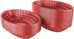 Bear Paws - Food Baskets - Plastic Basket - Oval Bread Baskets - Serving Basket - Restaurant Baskets - Deli Tray - Fries, Burgers, Crawfish - 36 Count, Red