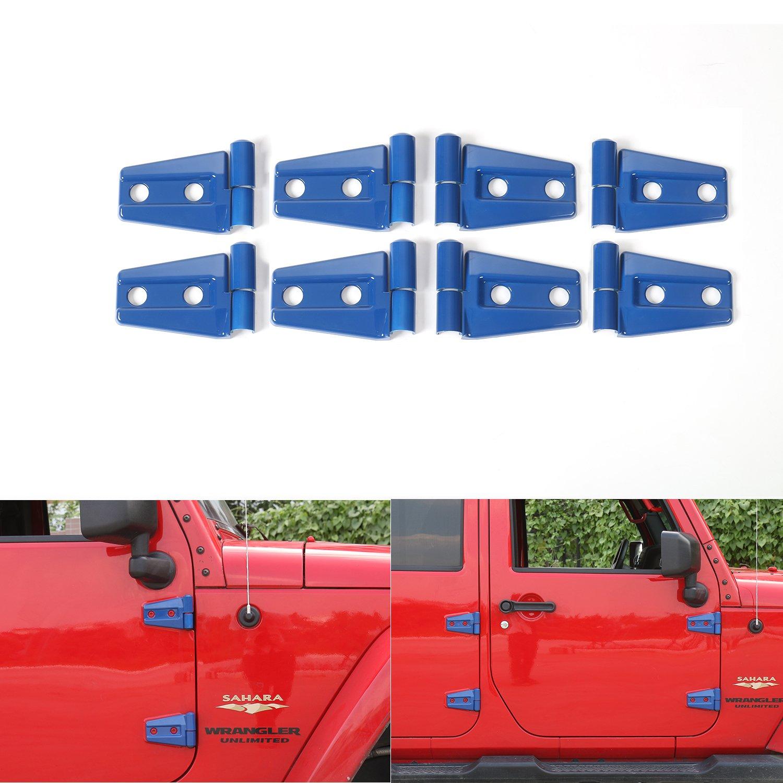 JeCar Blue Engine Hood Hinge Cover Door Molding Trim For Jeep Wrangler JK 2007-2016 (4-Door, 8pcs/set)