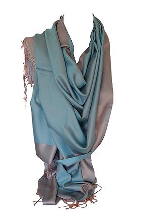 288241e0fc0 Double soie réversible bicolore Wrap Echarpe étole châle Hijab tête  foulards (Bleu ciel et Rose Poudré)  Amazon.fr  Vêtements et accessoires