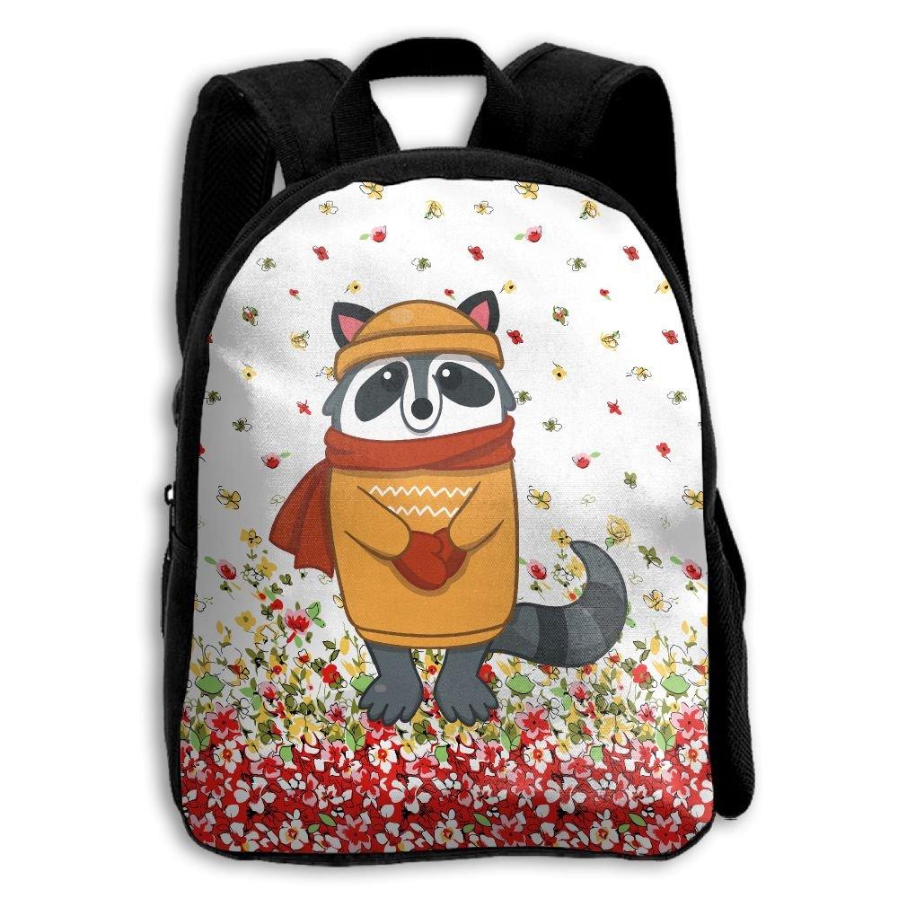 Raccoon With Scarf Kids Backpacks Double Shoulder Print School Bag Travel Gear Daypack Gift